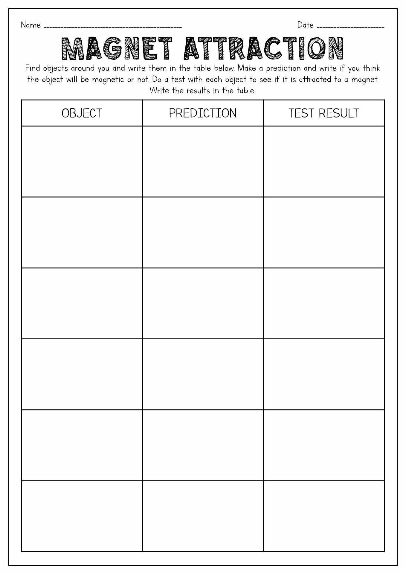 Magnet Worksheet Elementary