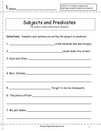 13 Best Images of Simple Subject Worksheets 1st Grade ...
