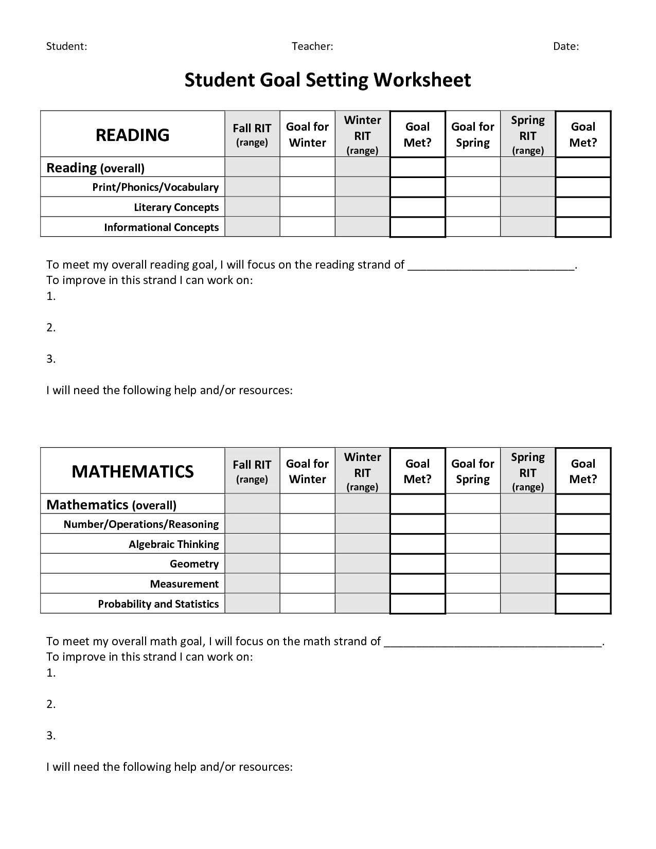 19 Best Images Of Adult Goal Setting Worksheet