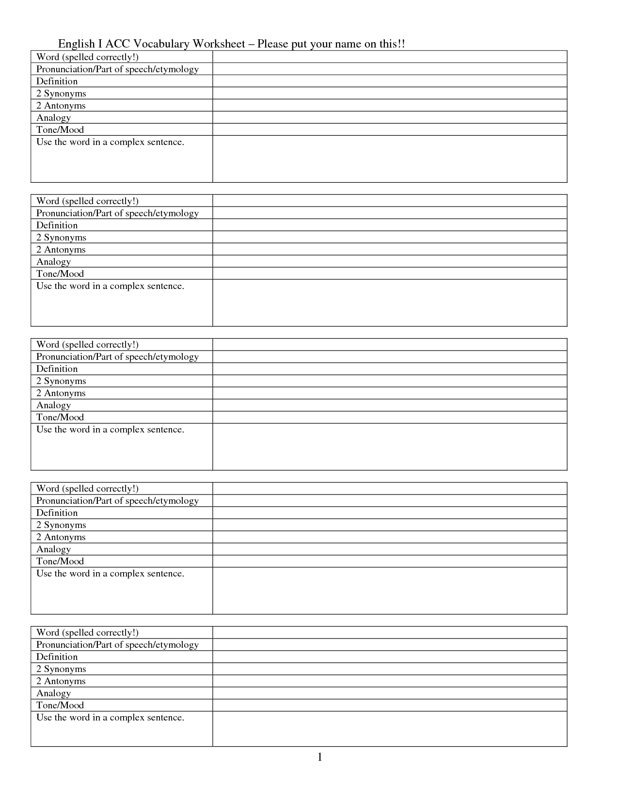 16 Best Images Of English Vocabulary Words Worksheet