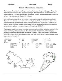 Macromolecule Worksheet High School Coloring