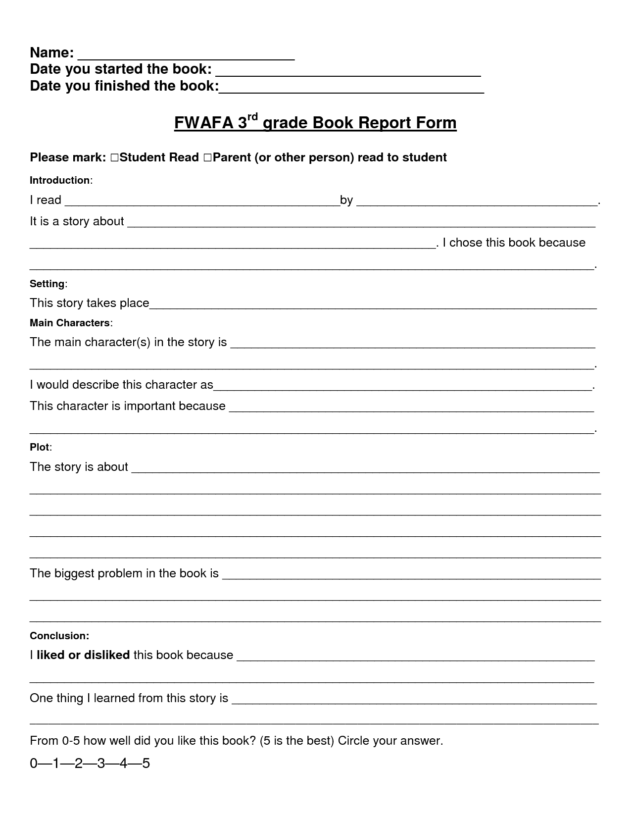 Grade 5 Book Report Template