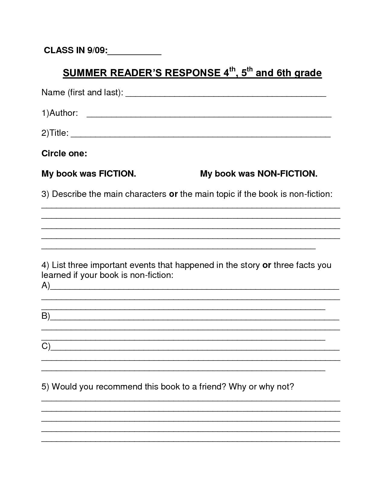 16 Best Images Of 3rd Grade Book Report Worksheet