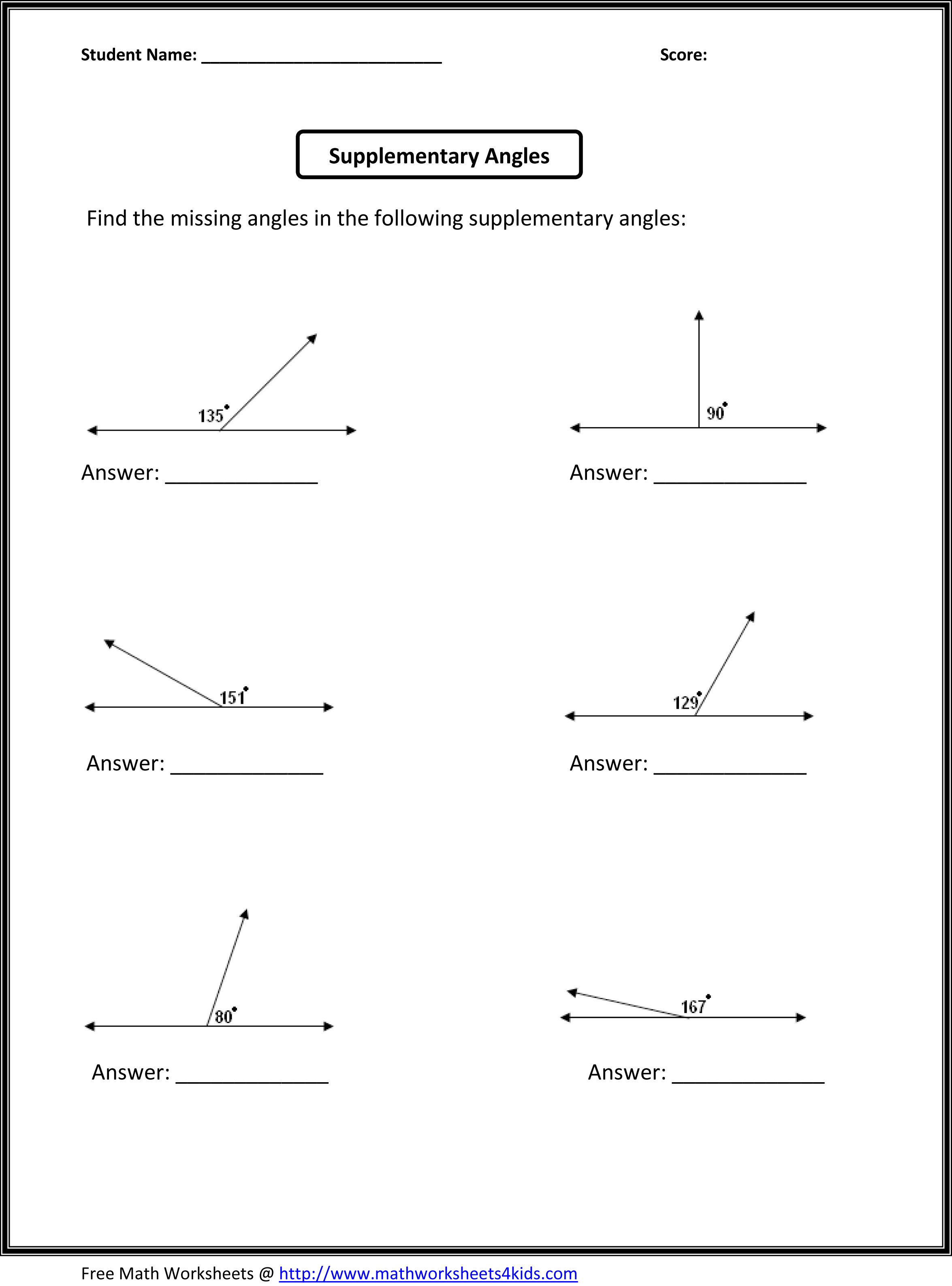 Types Angles Math Worksheet