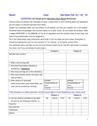 16 Best Images of Nutrition Label Worksheet - Printable ...