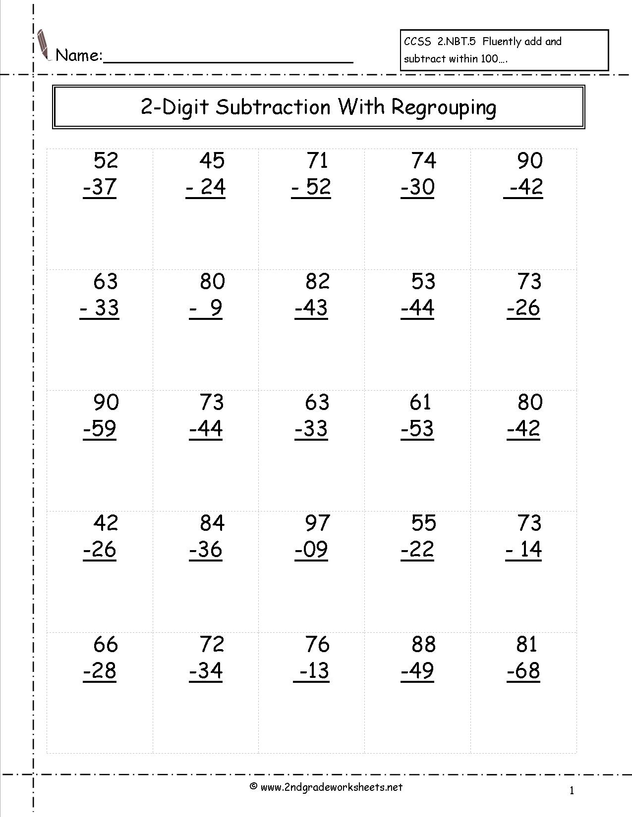 2 Digit Subtraction Worksheet Answers