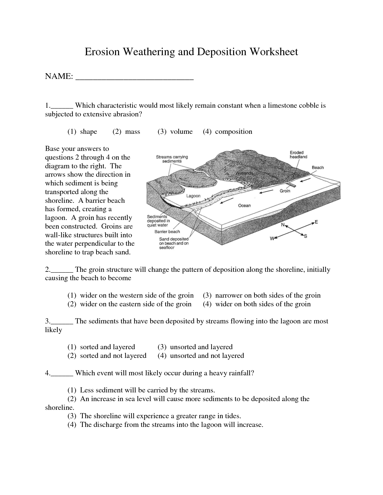 10 Best Images Of Earth Science Erosion Worksheet