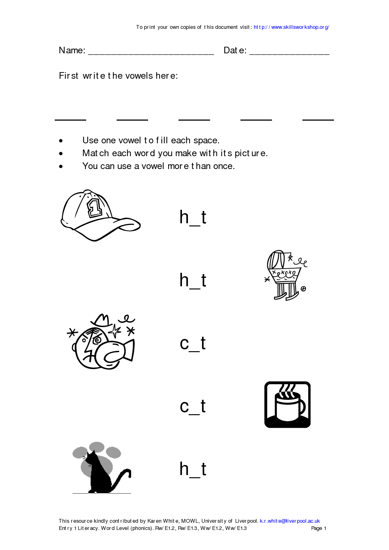 11 Best Images Of Vowel Worksheets For 1st Grade