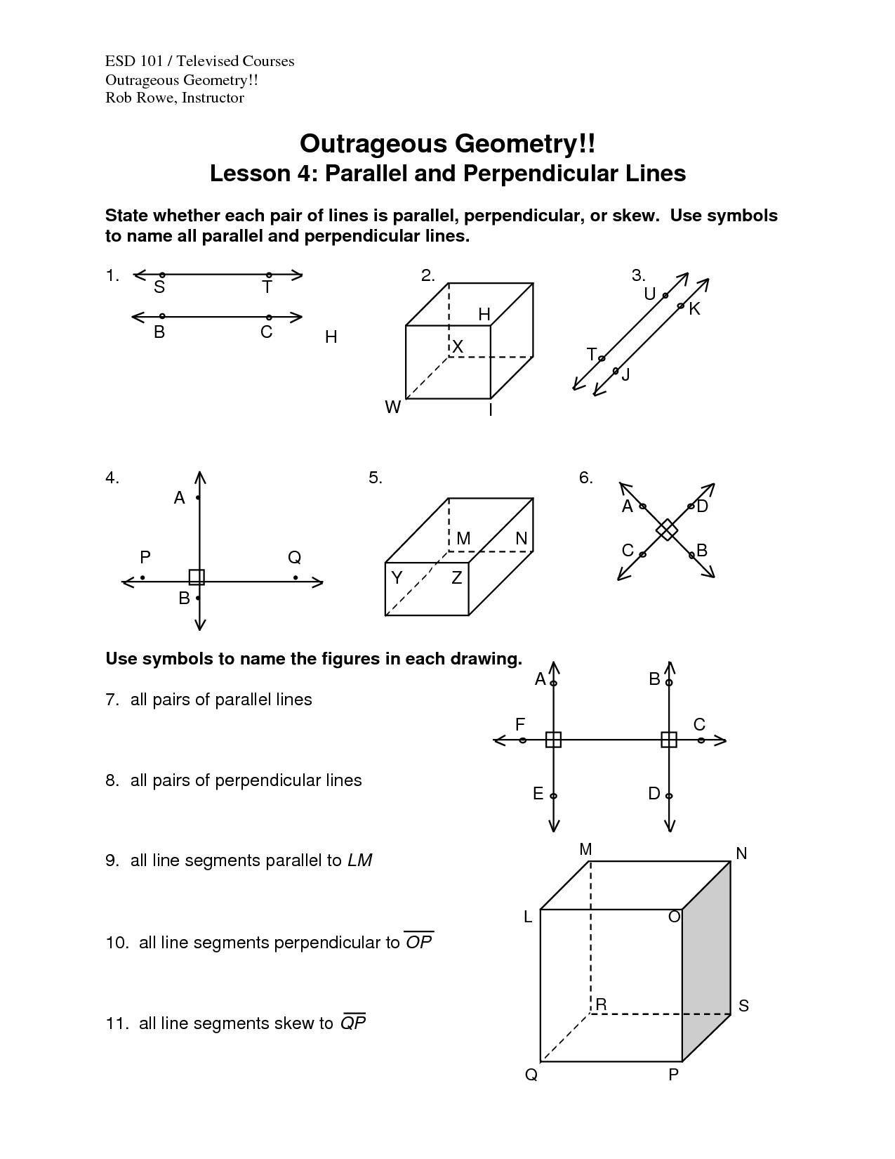 Perpendicular Lines Distance Worksheet