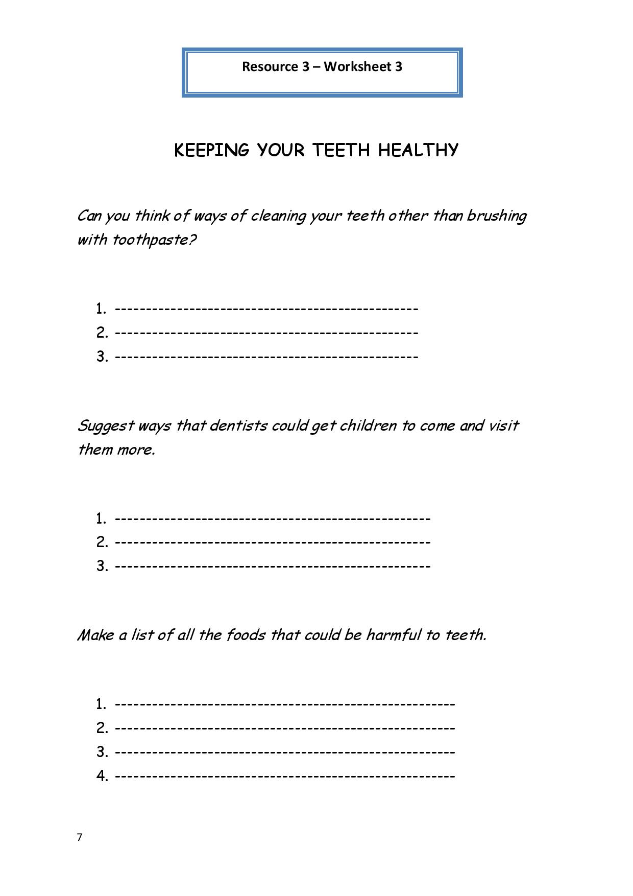 12 Best Images Of The Care Of Teeth Worksheets