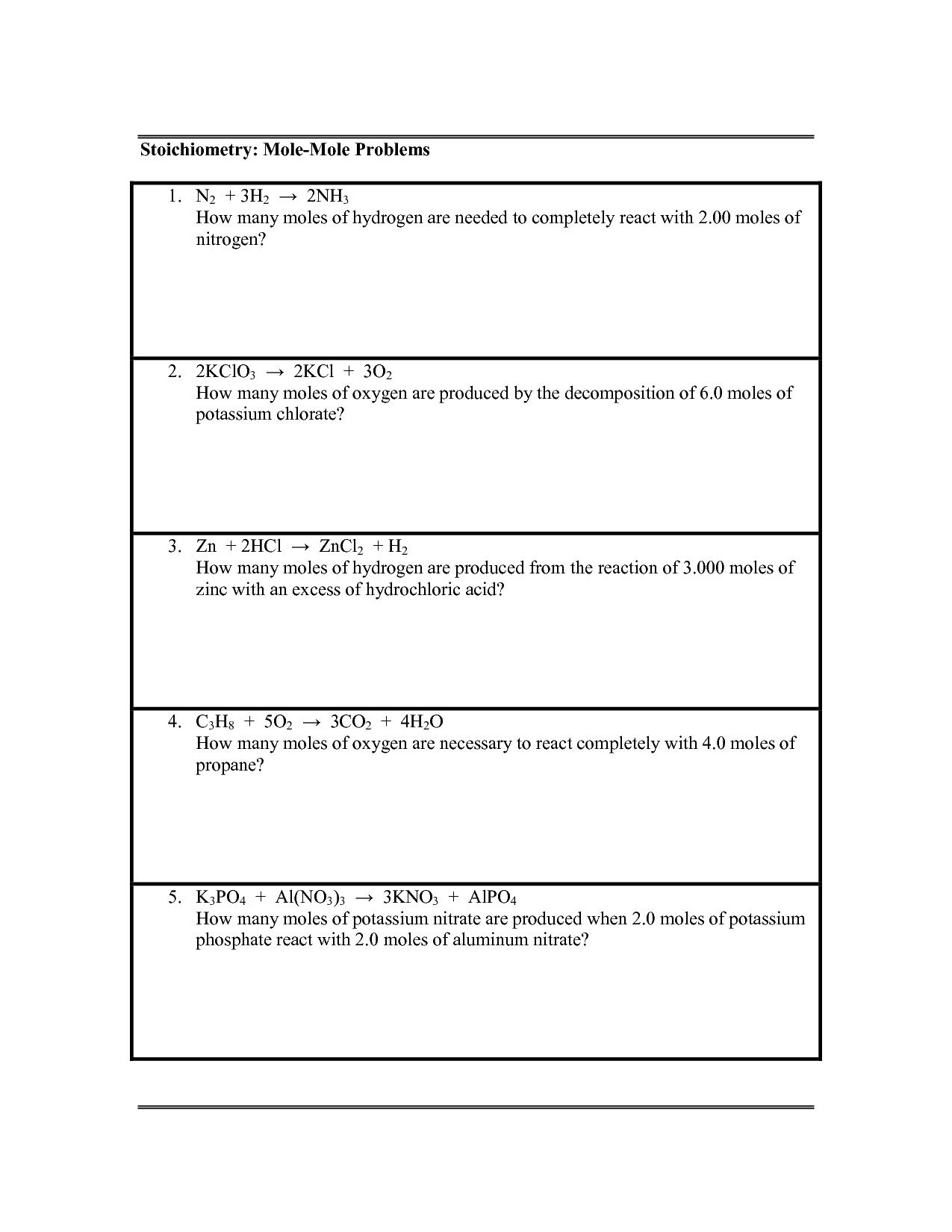 Stoichiometry Mole Mole Problems Worksheet Answers