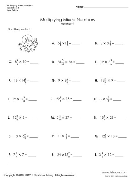 9 Best Images Of Fractions Times Whole Numbers Worksheets