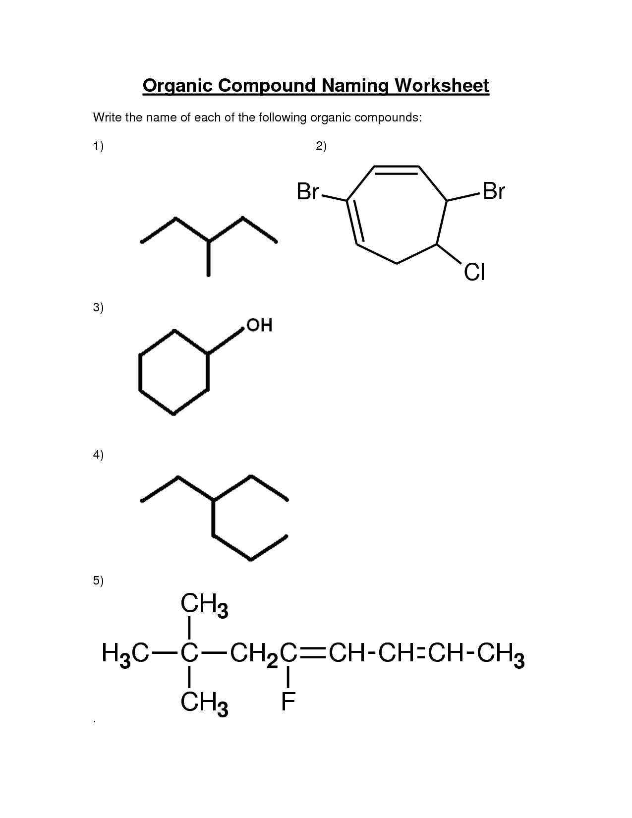 Organic Molecules Worksheet