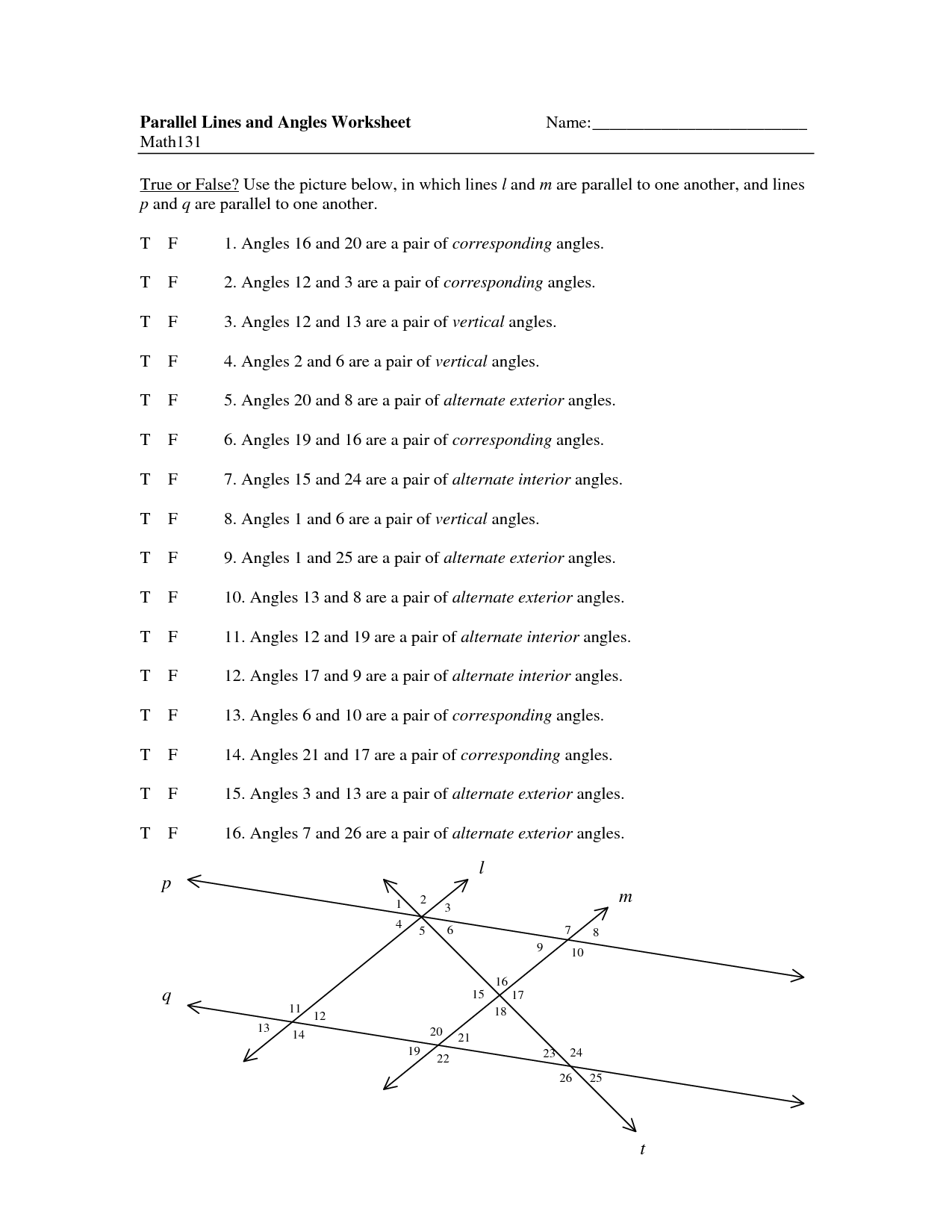 12 Best Images Of Geometry Lines And Angles Worksheet