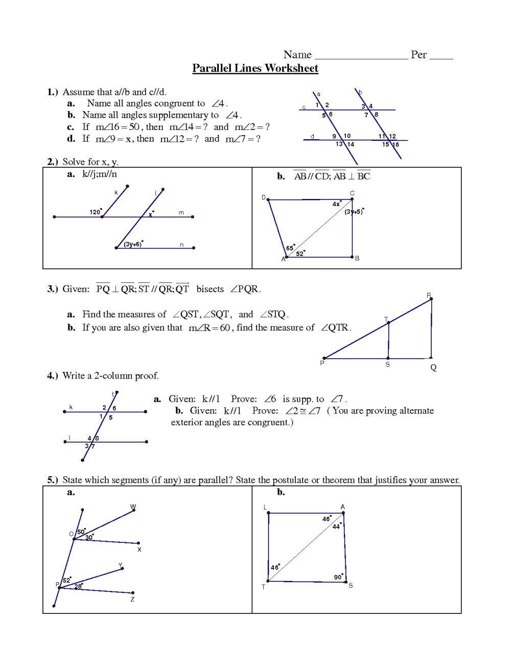 medium resolution of Parallel lines worksheet pdf
