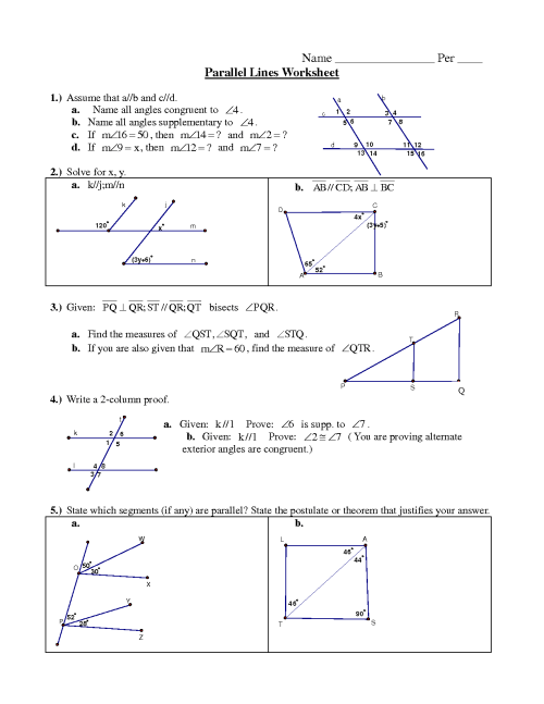 small resolution of Parallel lines worksheet pdf