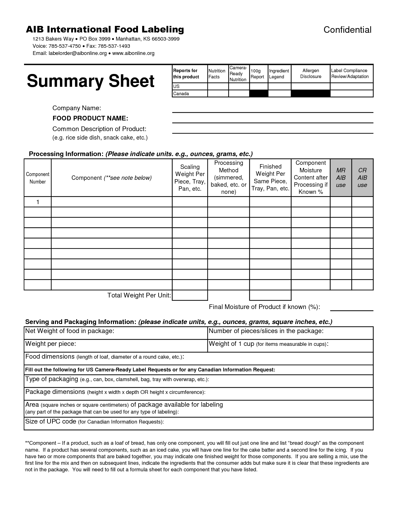 Nutrition Sheet Worksheet