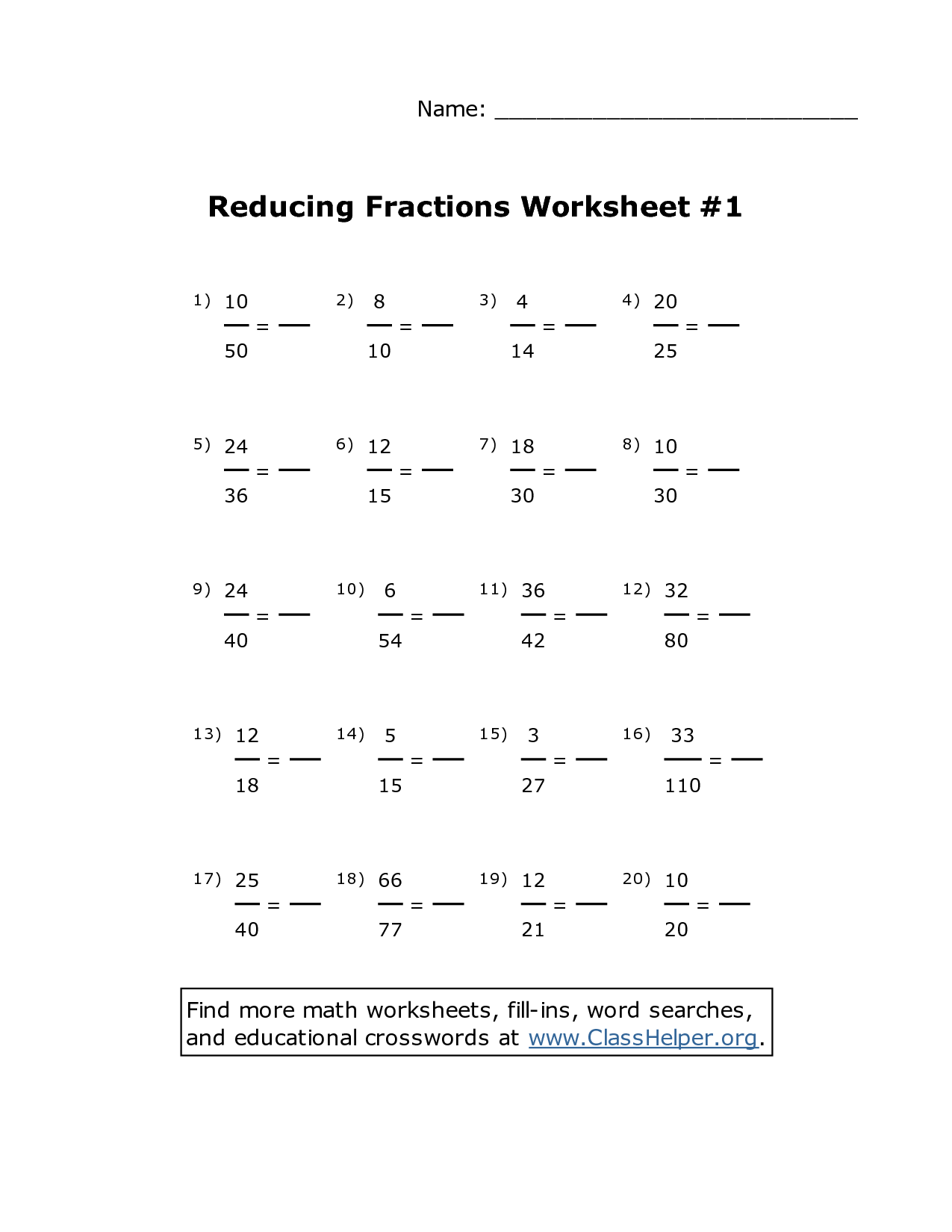 9 Best Images Of Reducing Fractions Worksheets Grade 5