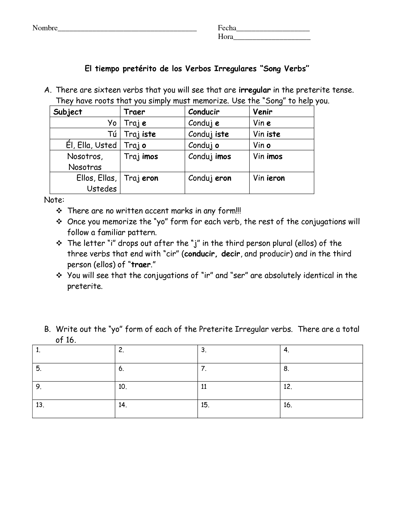 Spanish Ar Verbs Worksheet