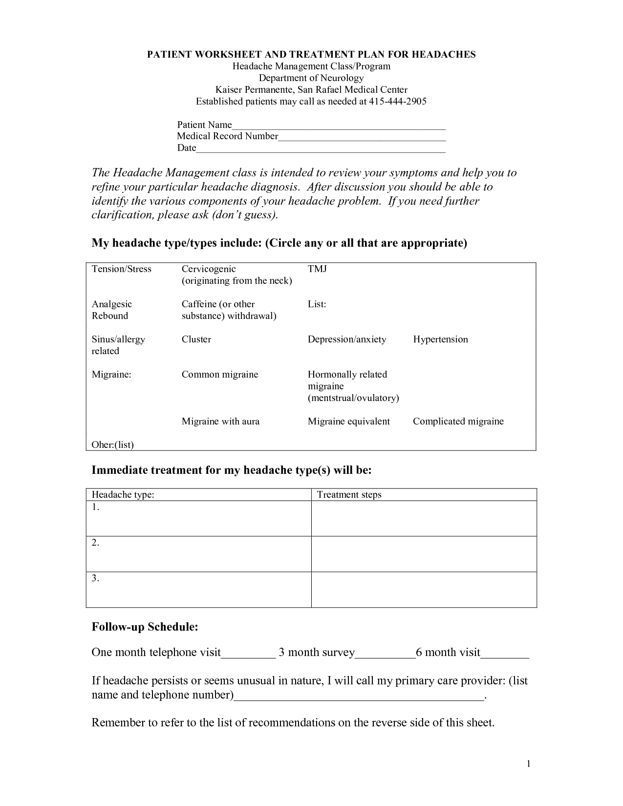 Dental Treatment Planning Worksheet