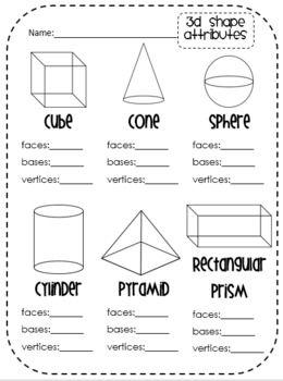 12 Best Images of 3D Shapes Kindergarten Worksheet