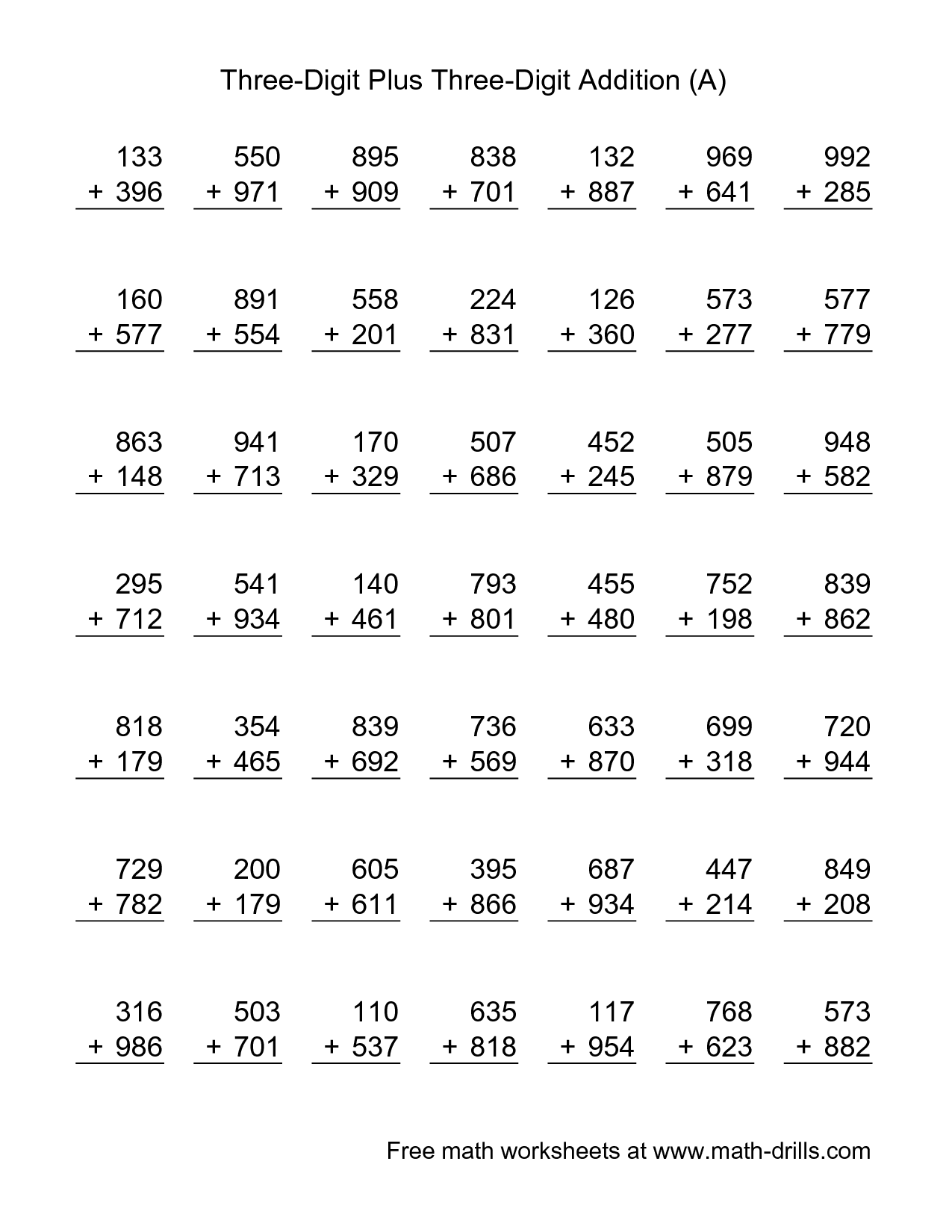 16 Best Images Of Two Digit Addition With Regrouping