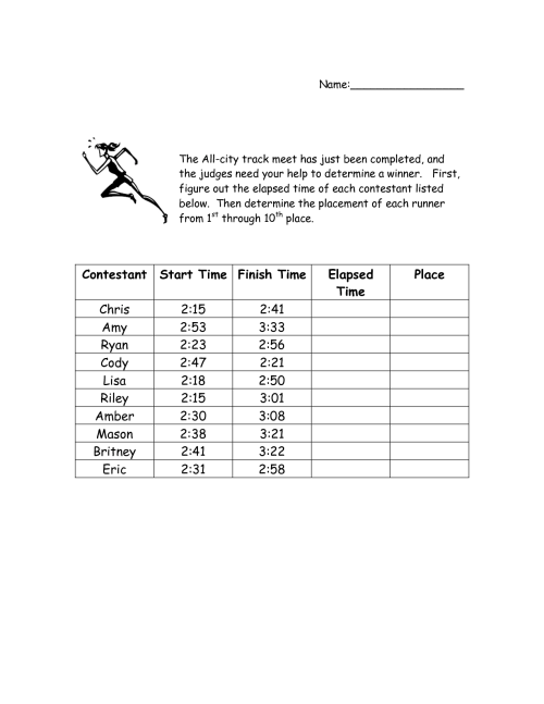 small resolution of Time Elapsed Worksheet   Printable Worksheets and Activities for Teachers