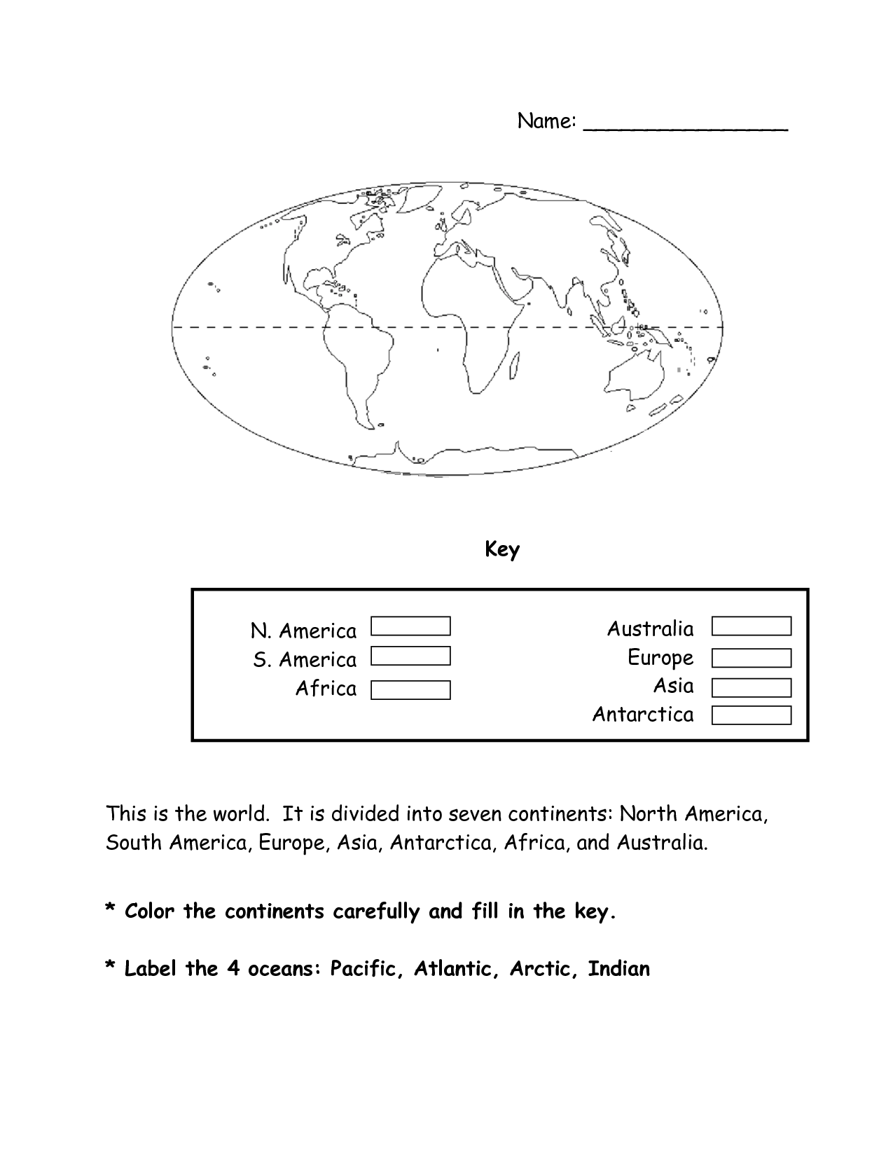 World Map Continents Worksheet