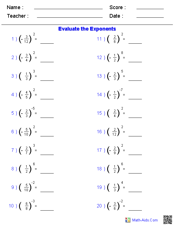 16 Best Images of Order Of Operations And Exponents