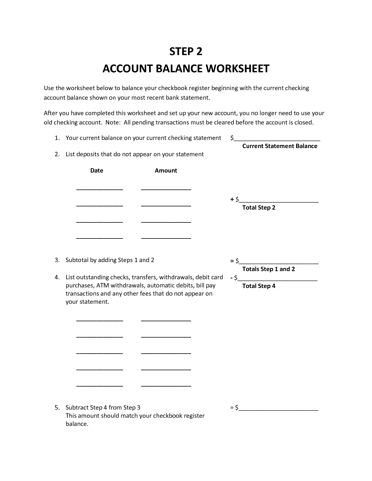 35 Balancing Your Checking Account Worksheet