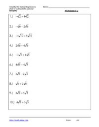 13 Best Images of Simplifying Radicals Math Worksheets ...