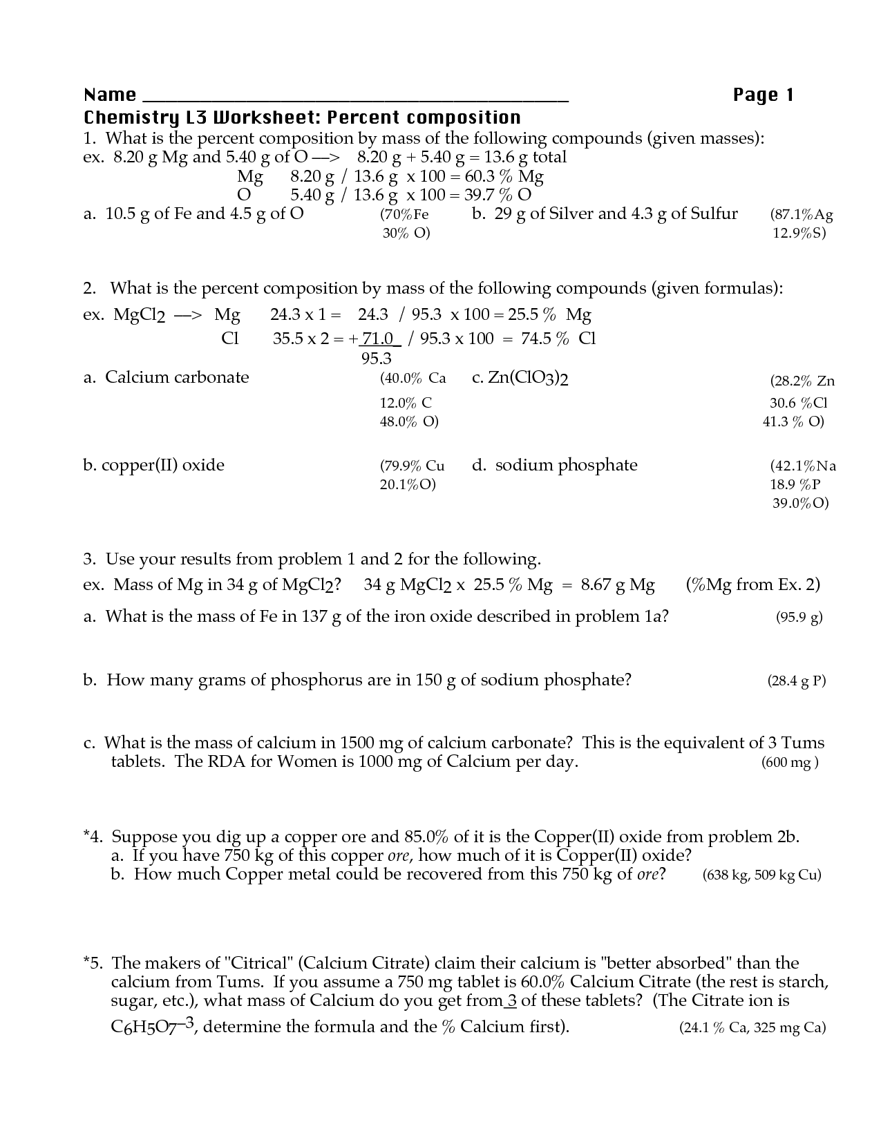 Worksheet Percent Composition By Mass Worksheet