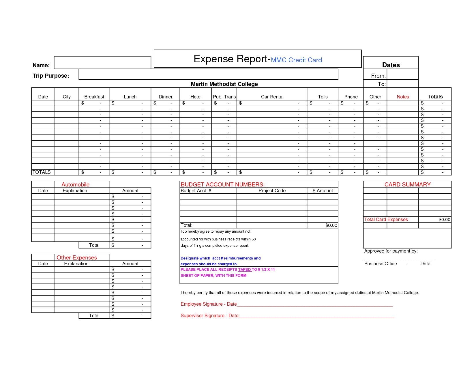Credit Card Expense Worksheet