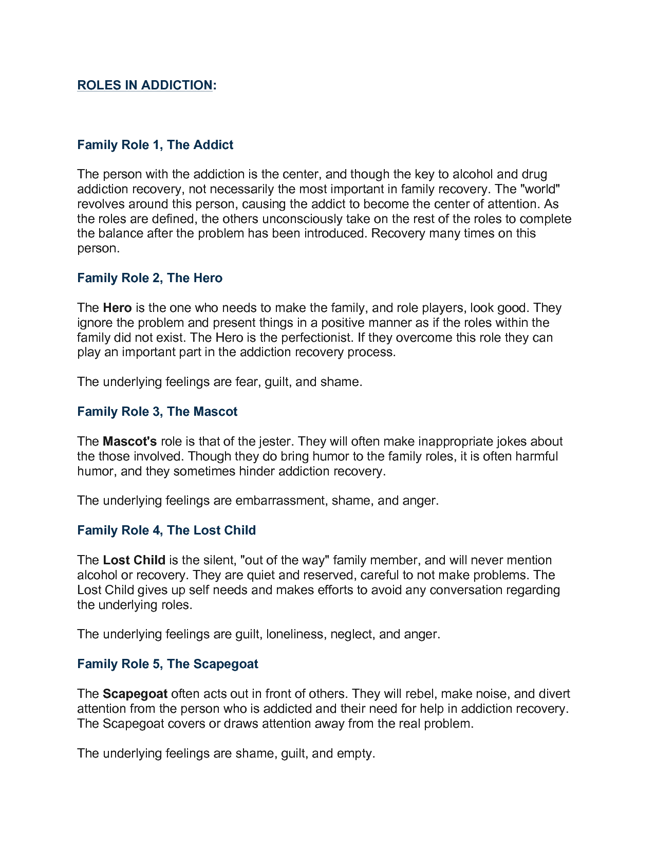 Addiction And Family Roles Worksheets