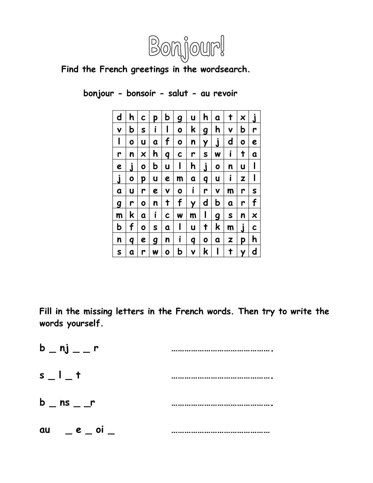 French Weather Worksheets