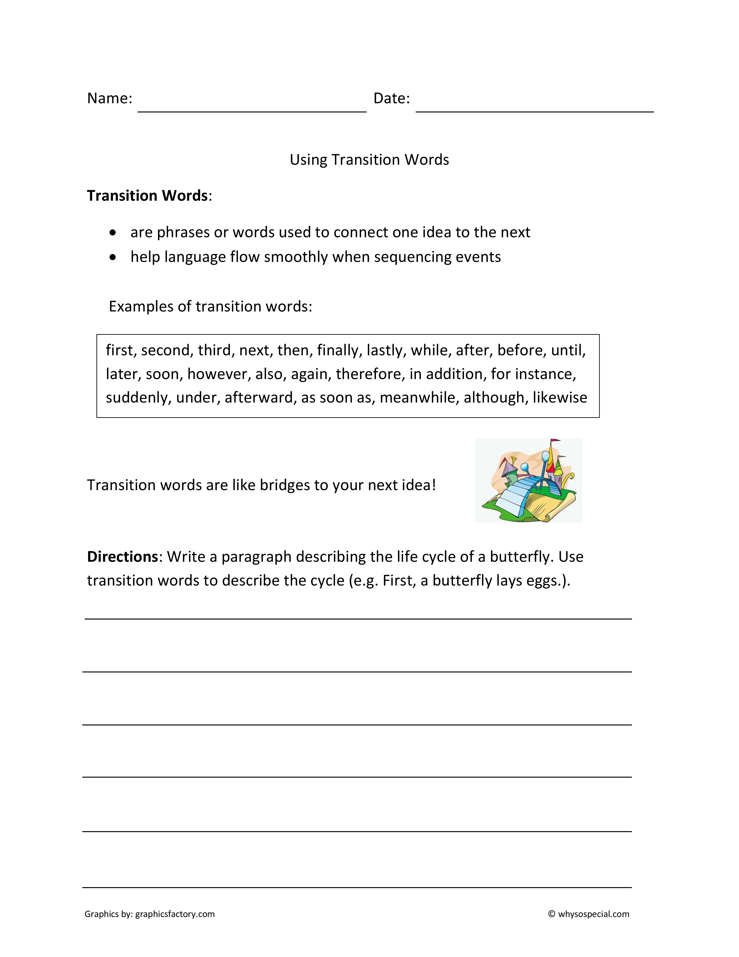16 Best Images Of Writing Transition Words Worksheet