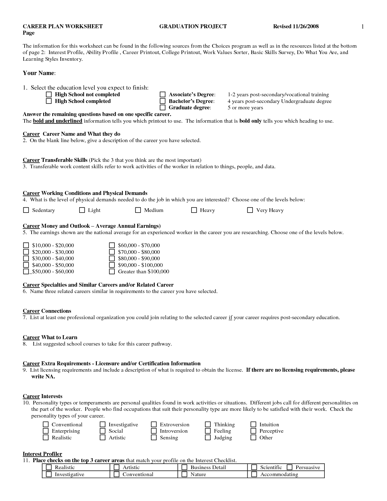 Student Worksheet Category Page 3