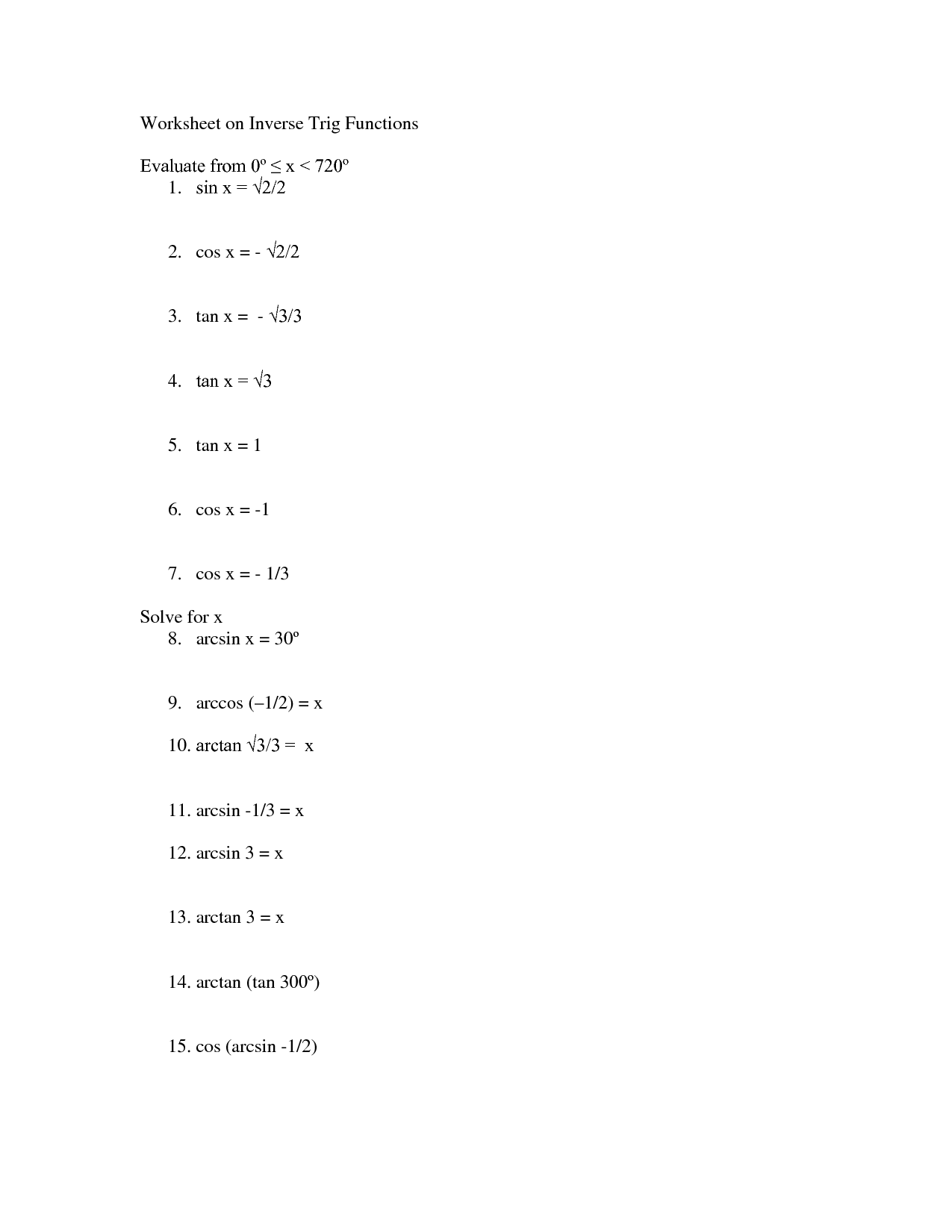 18 Best Images Of Trigonometry Worksheets And Answers