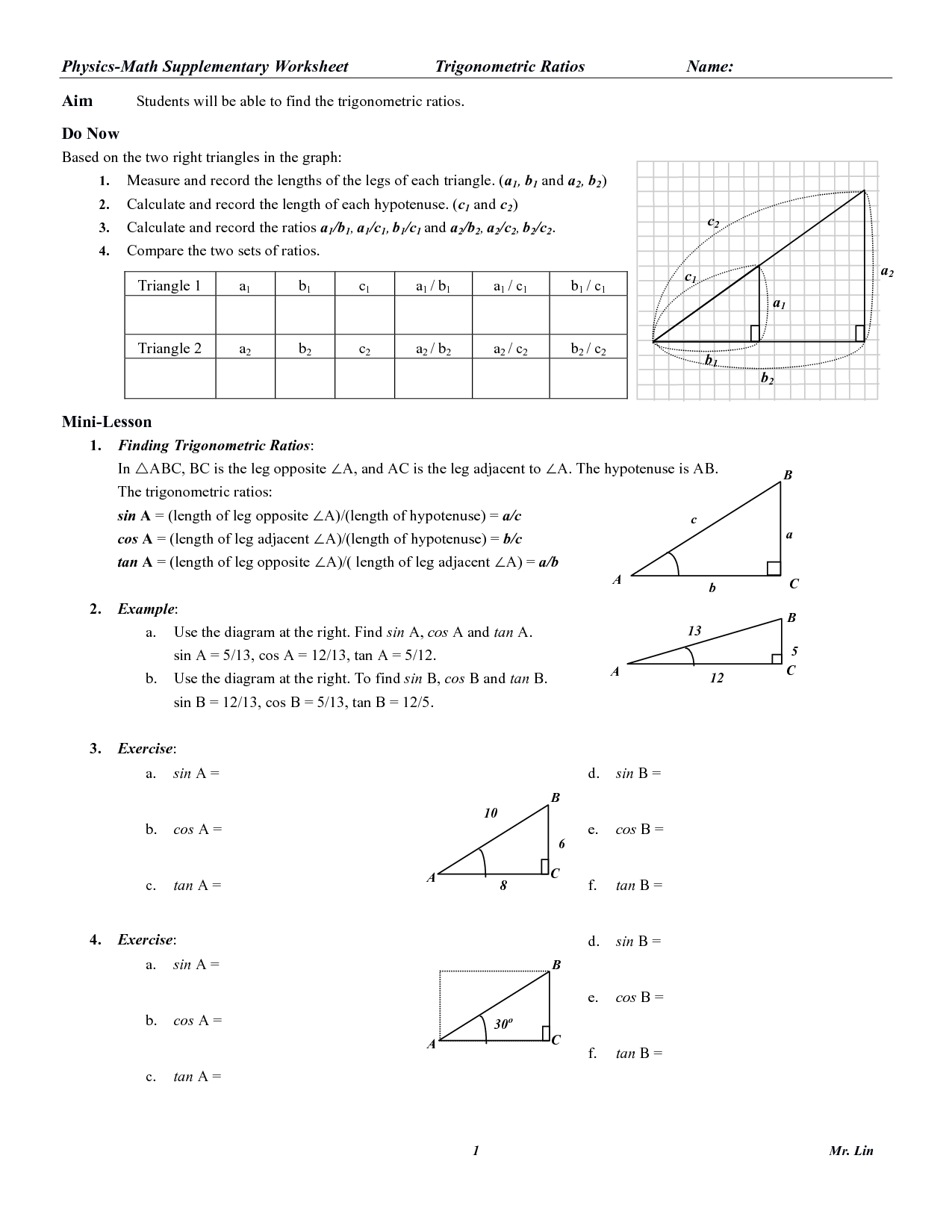 12 Best Images Of Right Triangle Trigonometry Worksheet