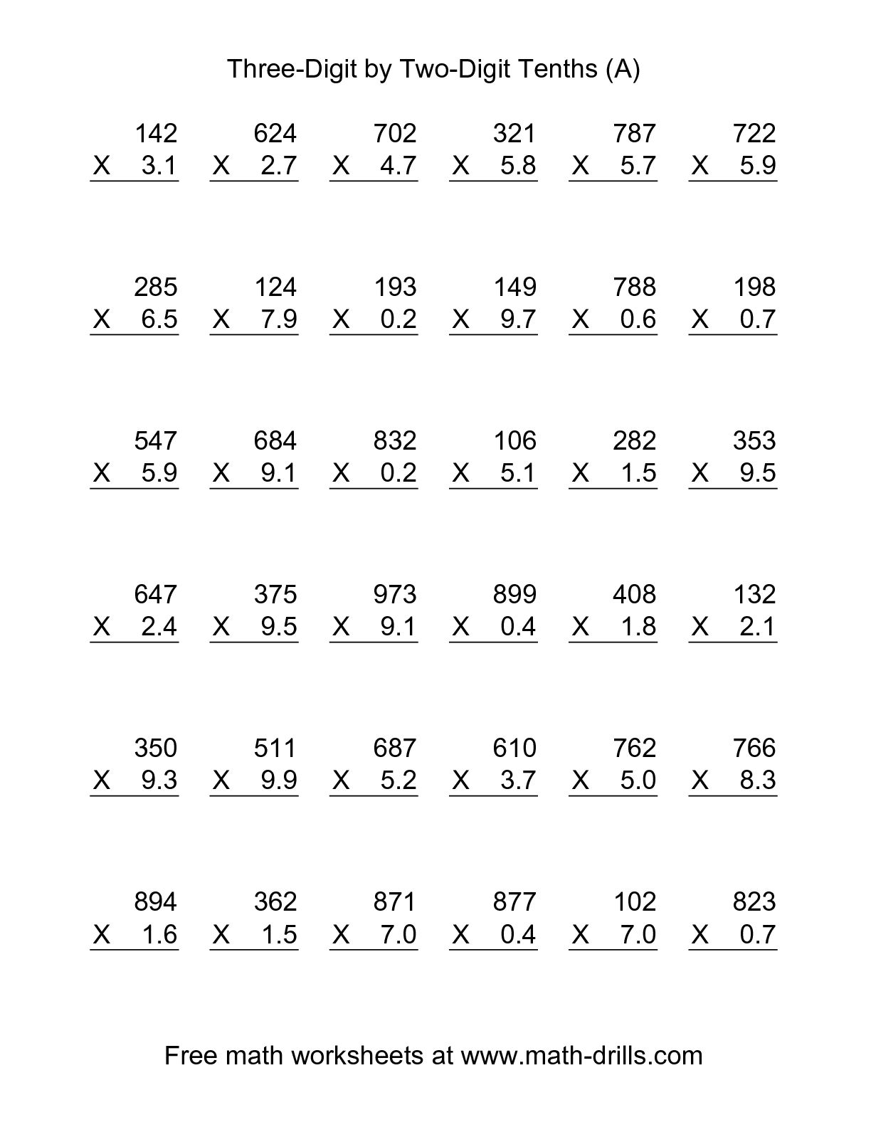 Multiplying Decimals By A Whole Number Worksheet