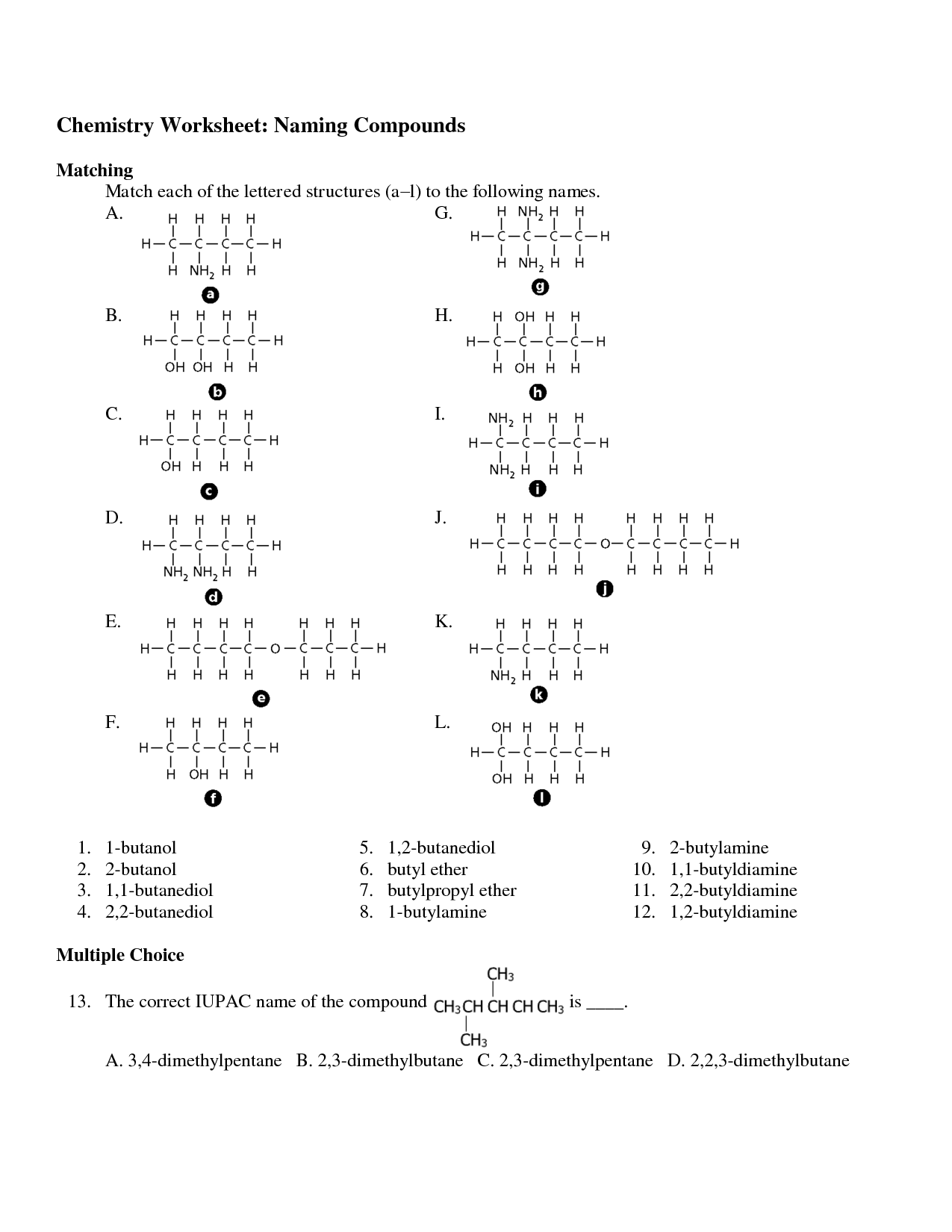 Molecular Naming Worksheet