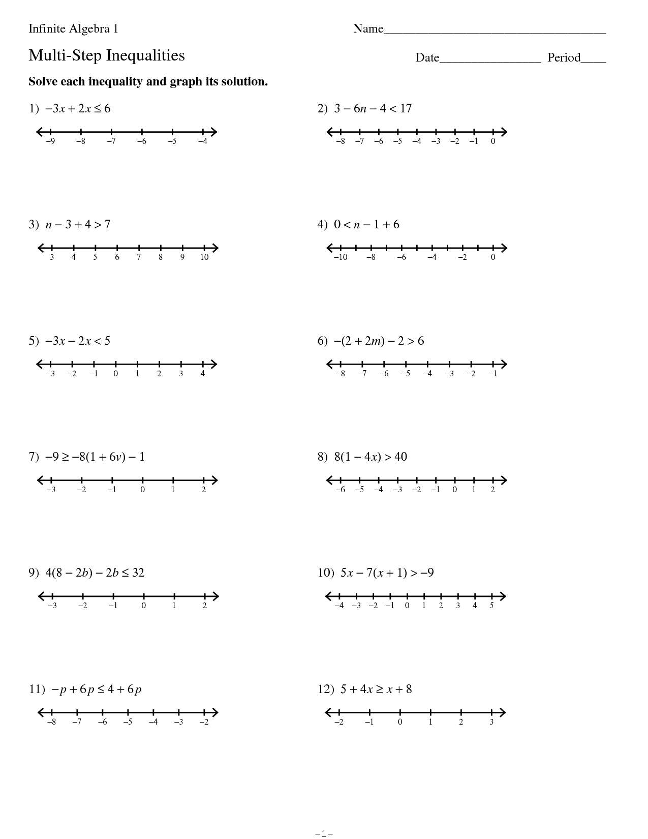 Algebra Inequalities Worksheet