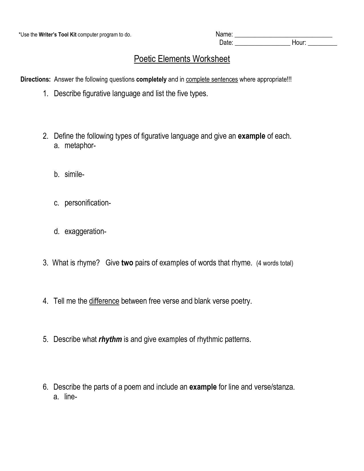 19 Best Images Of Poetry Terms 5th Grade Worksheets