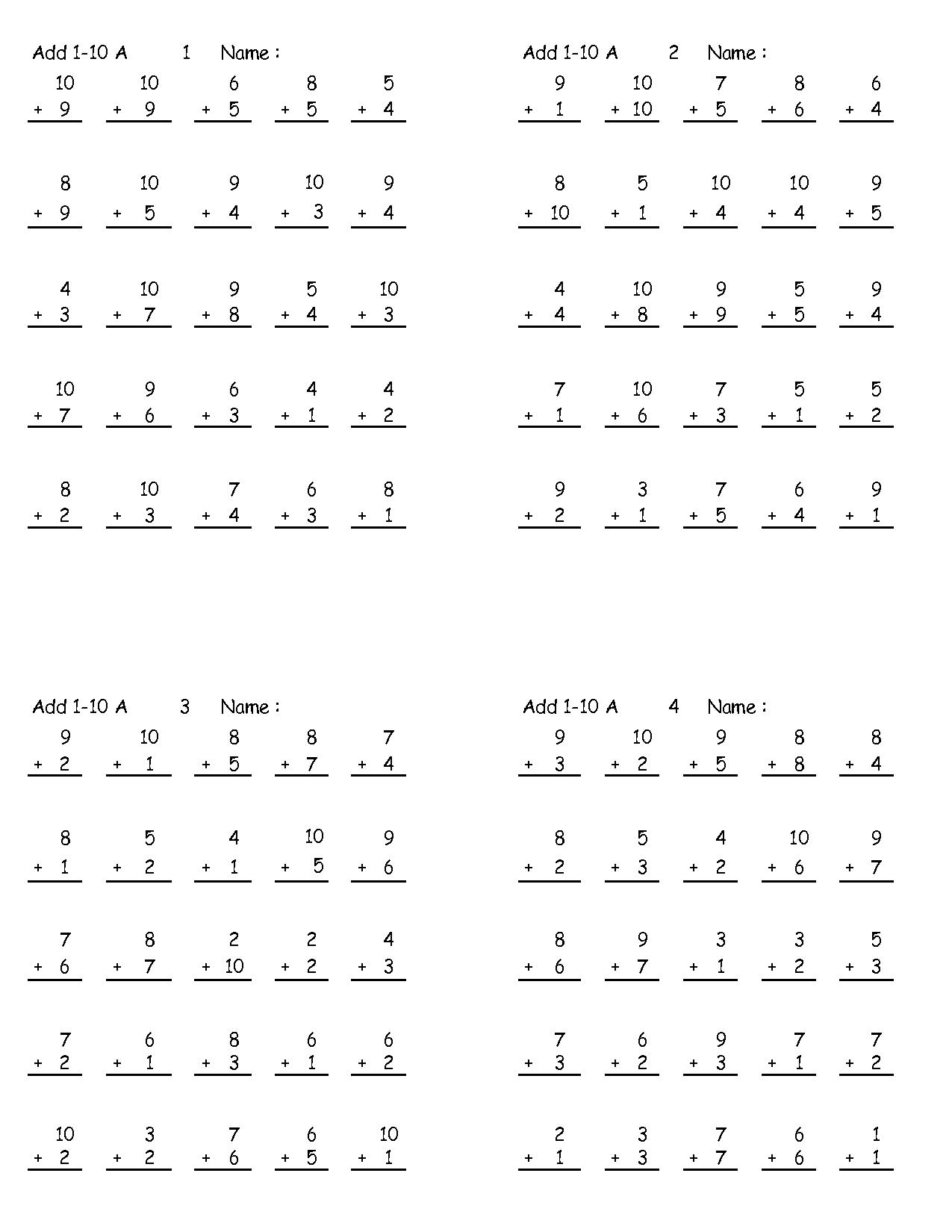 Printable Addition Rocket Math Worksheets