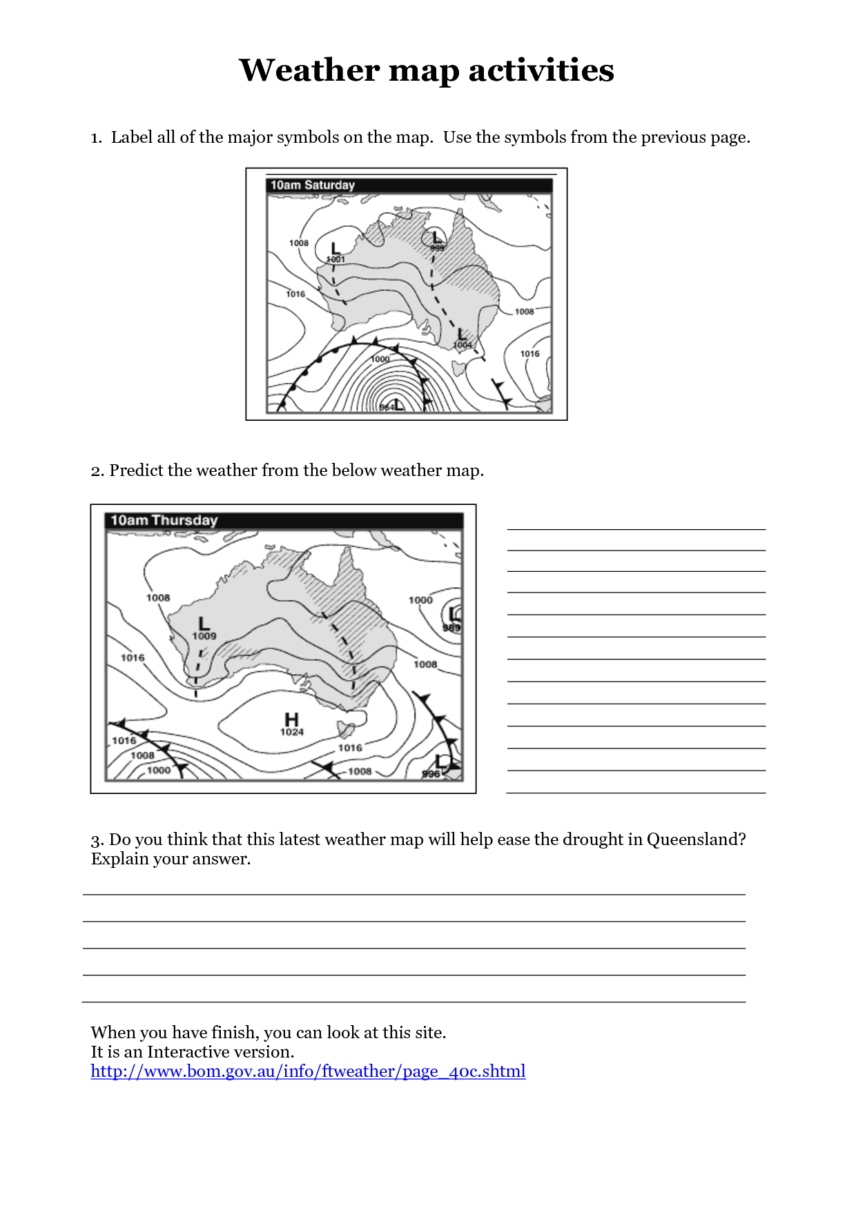 Weather Map Symbols Worksheet 11 Best Images Of Weather