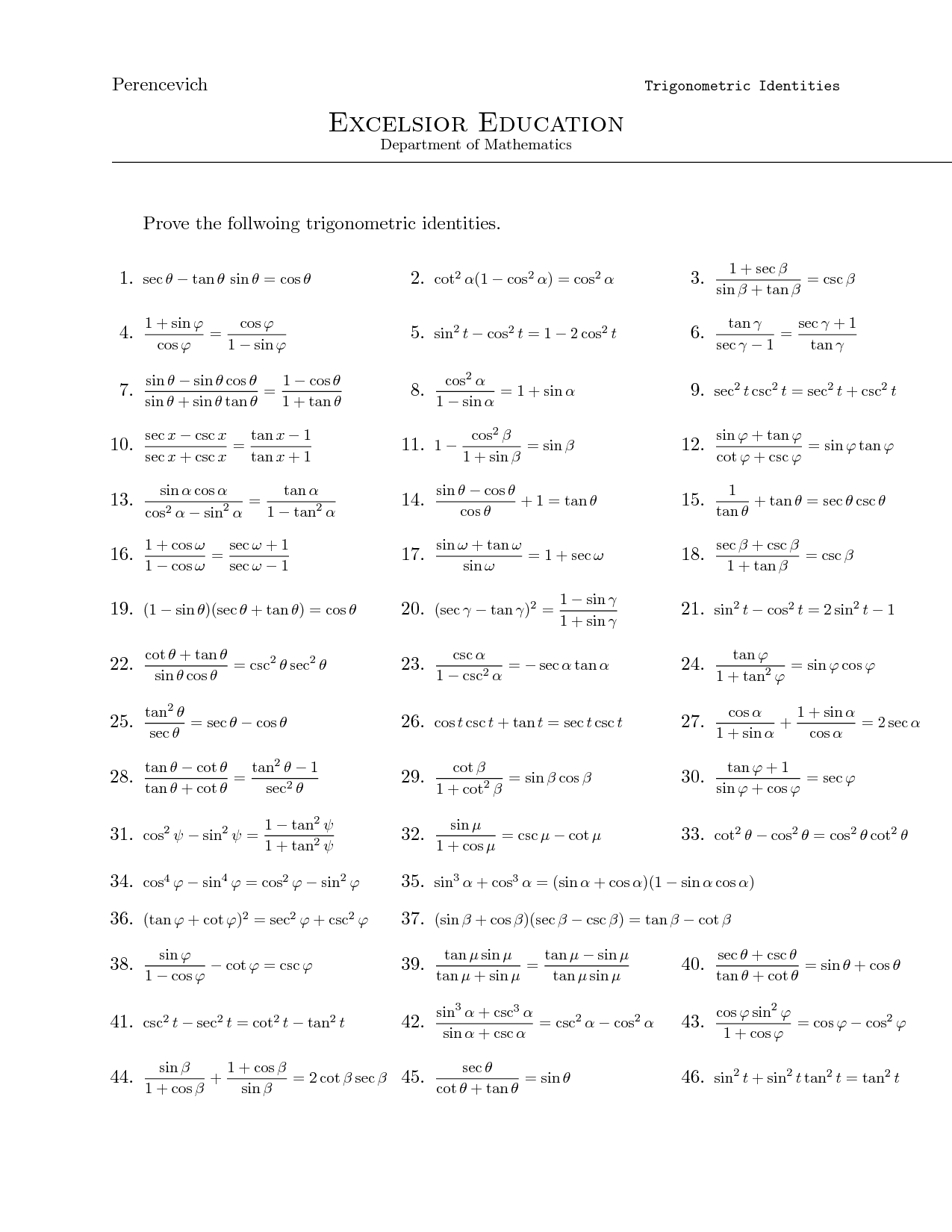 Inverse Trig Functions Worksheet With Answers