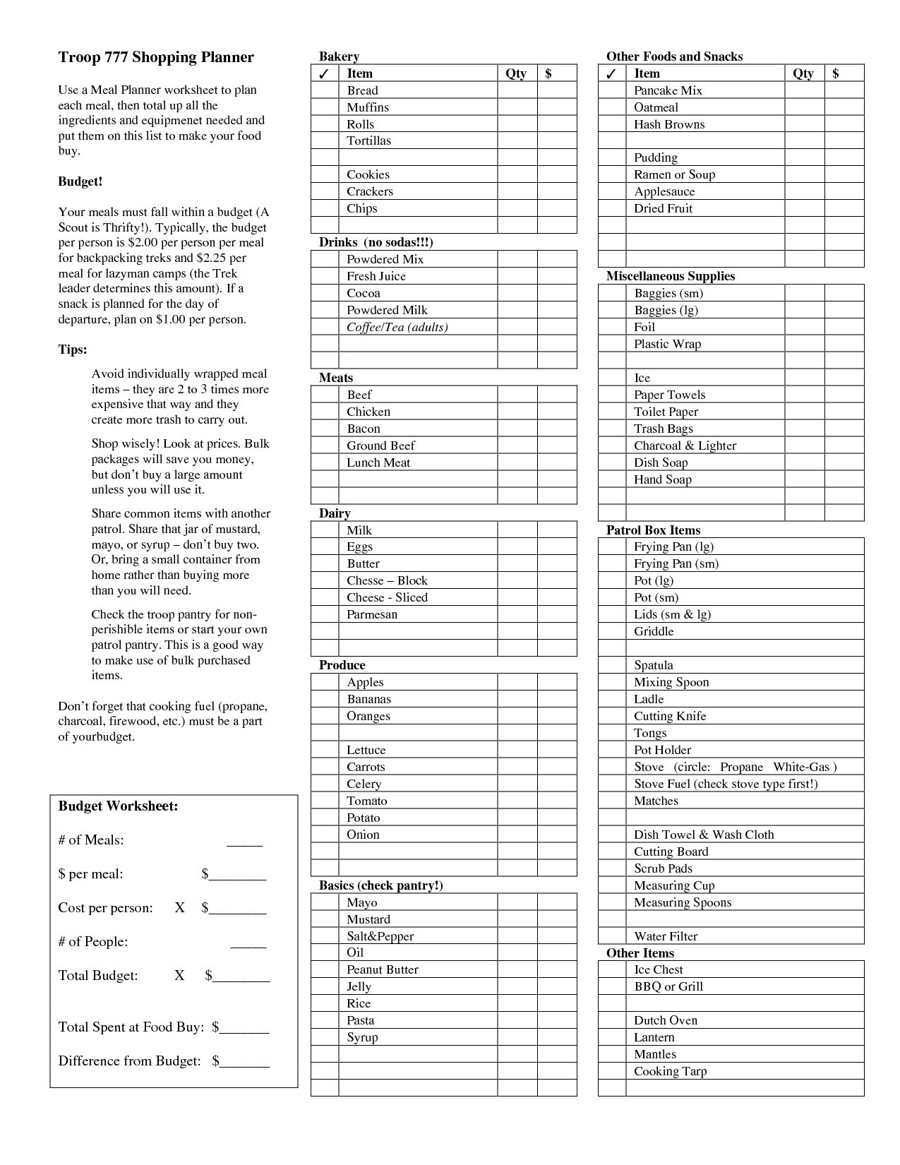 13 Best Images Of Meal Planning Worksheet With Snacks