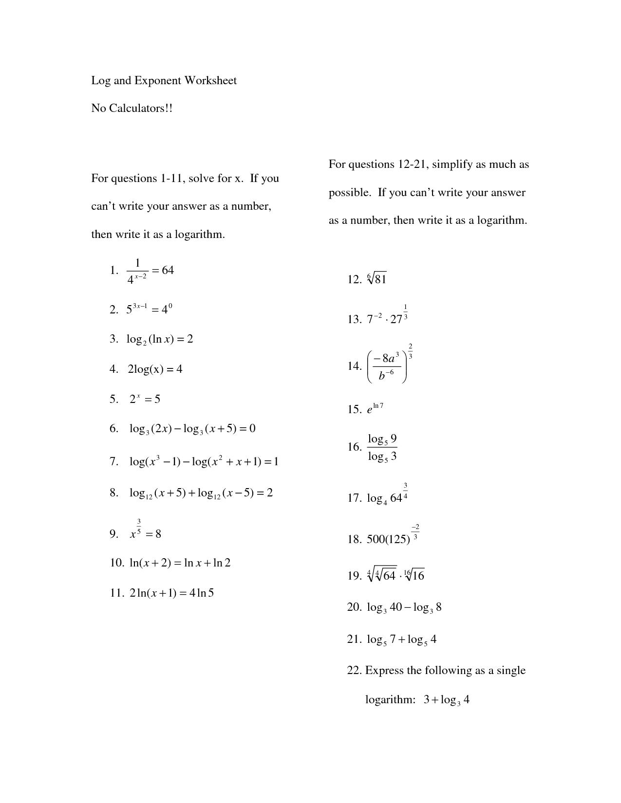 13 Best Images Of Math Worksheets For Algebra Solve For X