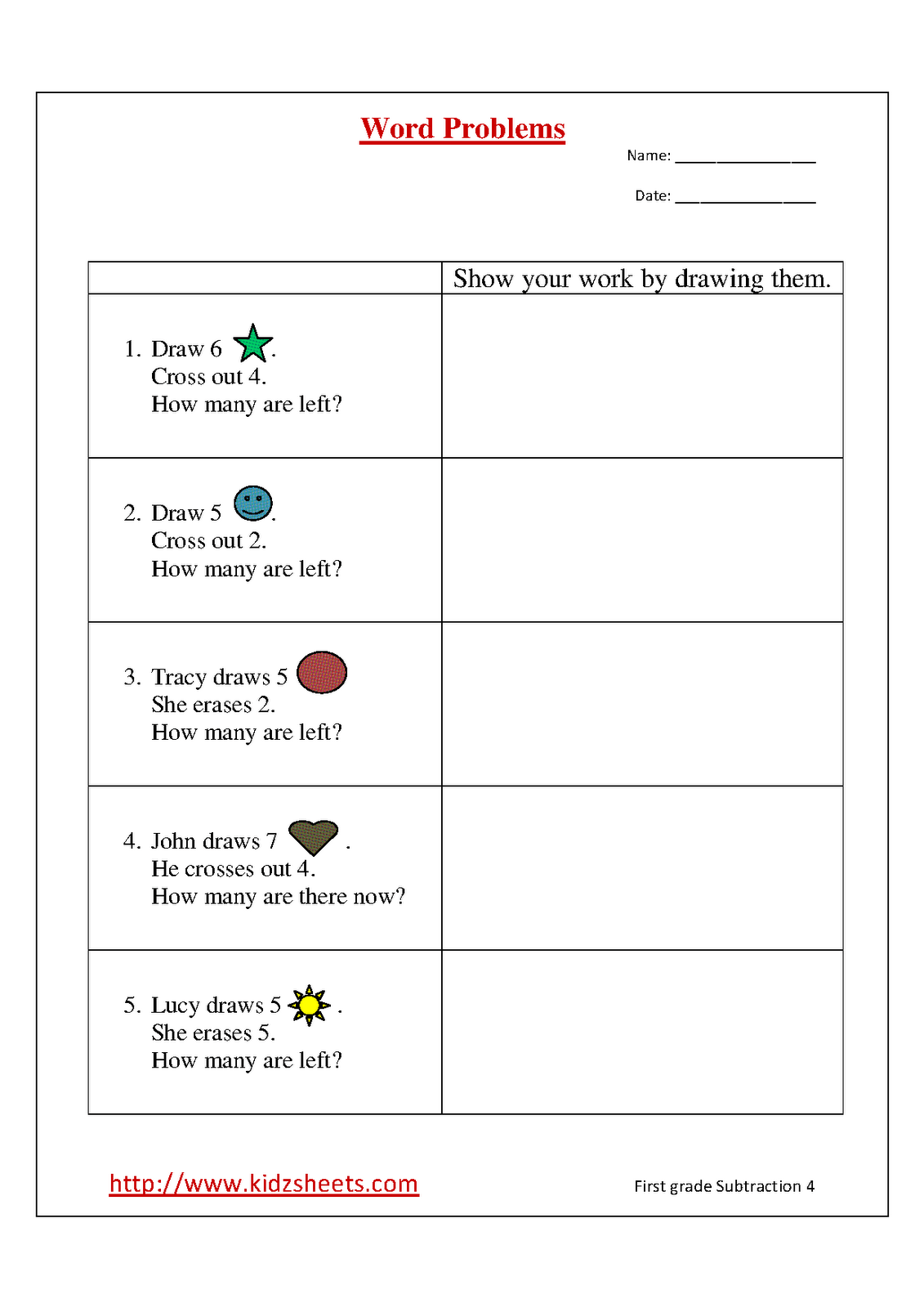 1st Grade Math Word Problems Worksheets