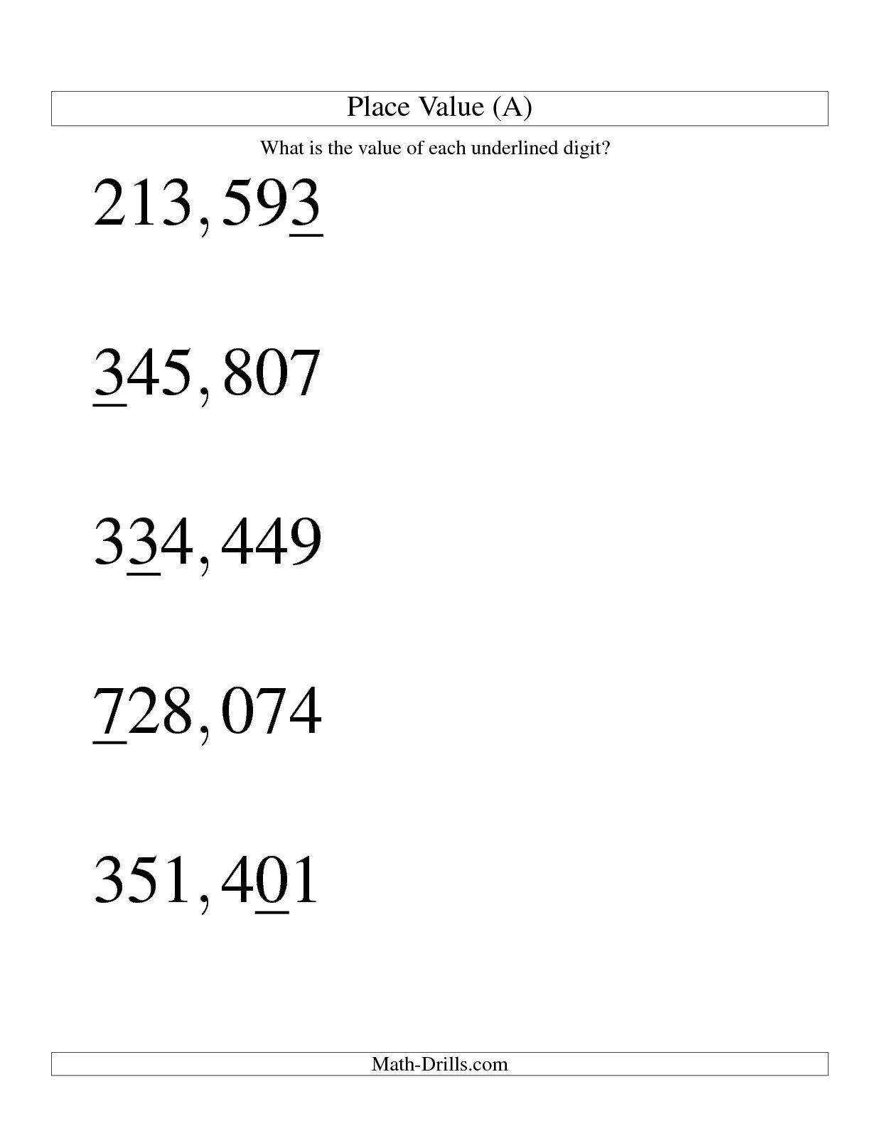 14 Best Images Of Number Place Value Worksheets